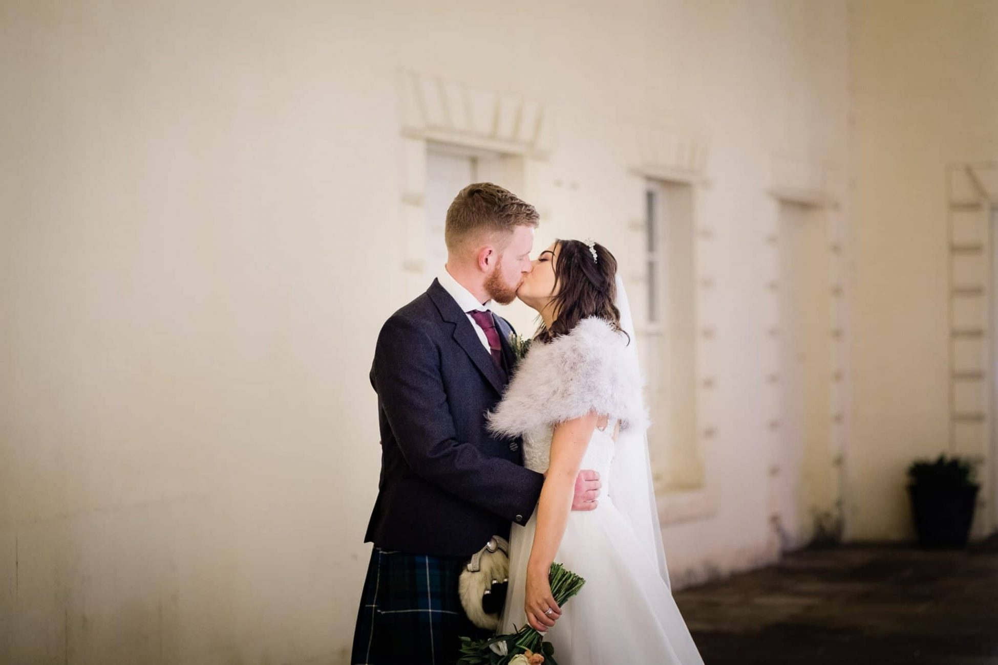 A wedding portrait at Hopetoun House
