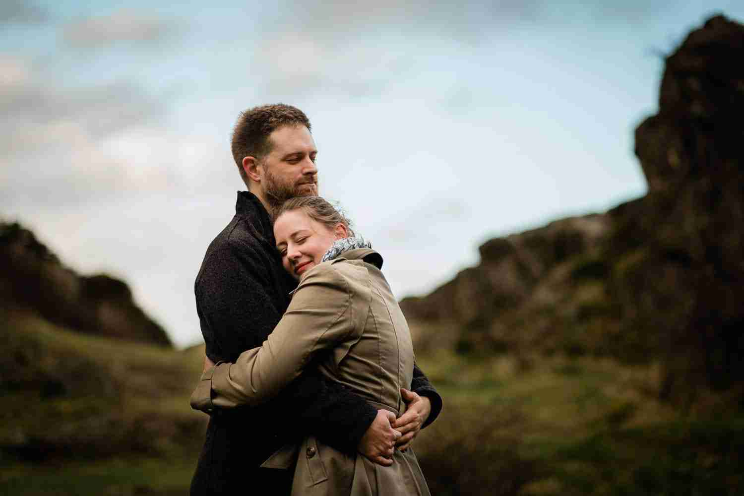 an engagement portrait at Blackford quarry, Edinburgh