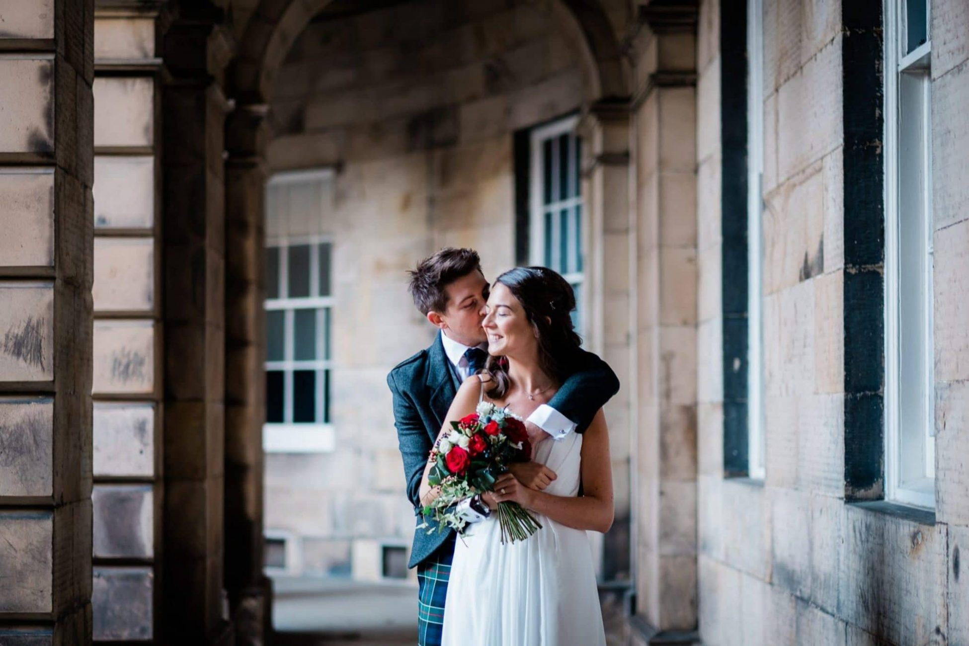 A wedding portrait near the Royal Mile in Edinburgh
