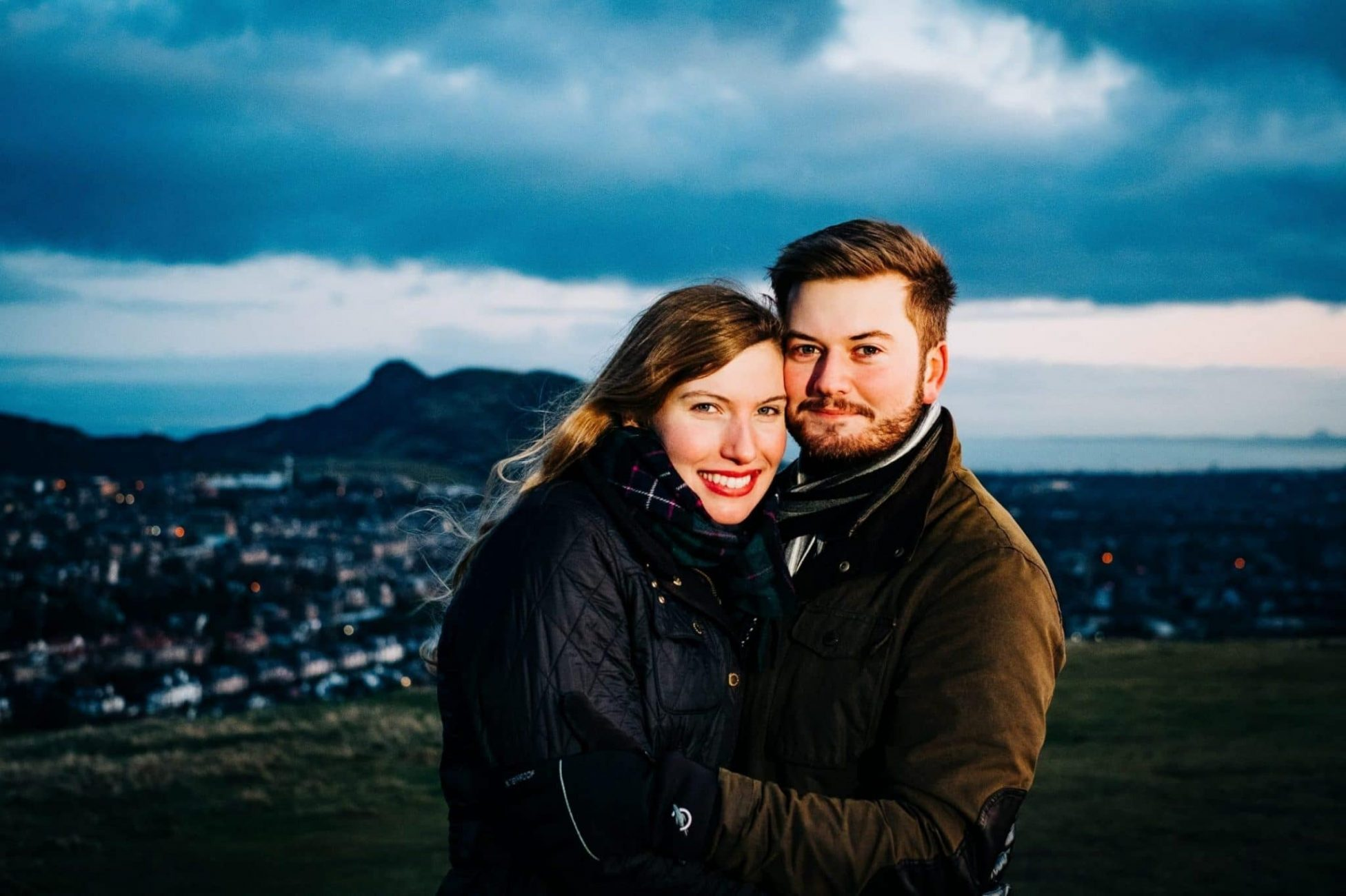 An engagement portrait of a couple in Edinburgh