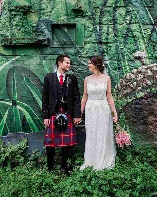 Wedding portrait at the old fruitmarket in Glasgow